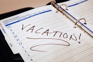 dayplanner with vacation marked